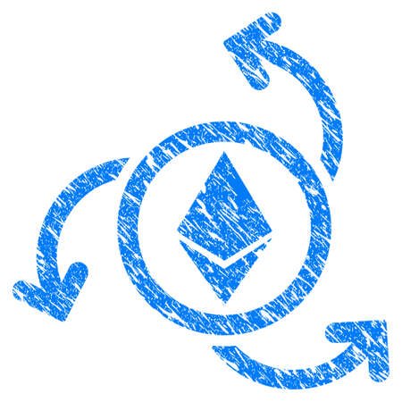 Grunge Ethereum Source Swirl icon with grunge design and dust texture. Unclean vector blue pictogram for rubber seal stamp imitations and watermarks. Draft sticker symbol.