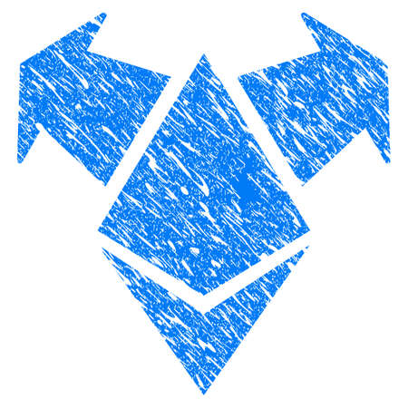 Grunge Ethereum Spend Arrows icon with grunge design and dust texture. Unclean vector blue pictogram for rubber seal stamp imitations and watermarks. Draft emblem symbol.
