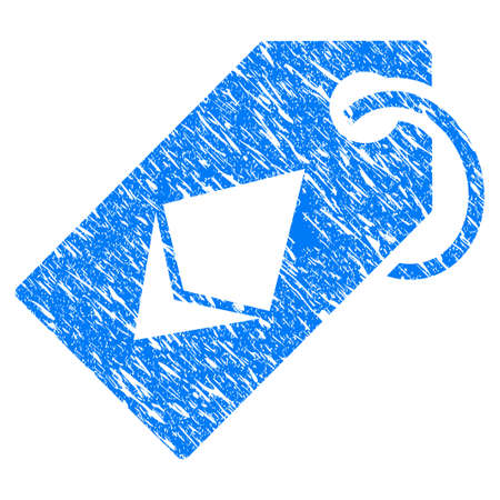 Grunge Ethereum Tag icon with grunge design and scratched texture. Unclean vector blue pictogram for rubber seal stamp imitations and watermarks. Draft sticker symbol.