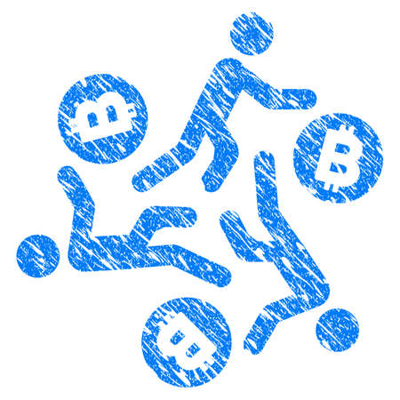 the miners: Grunge Running Persons For Bitcoin icon with grunge design and dirty texture. Unclean vector blue pictogram for rubber seal stamp imitations and watermarks. Draft sign symbol. Illustration