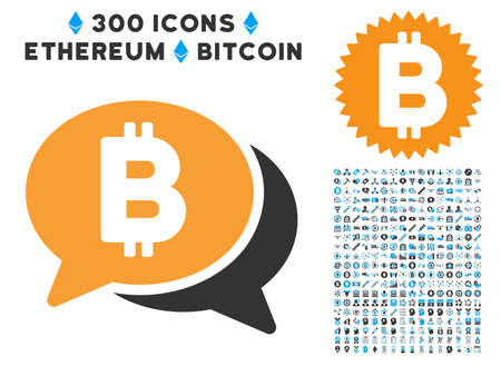 Bitcoin Chat icon with 300 blockchain, bitcoin, ethereum, smart contract pictures. Vector icon set style is flat iconic symbols.