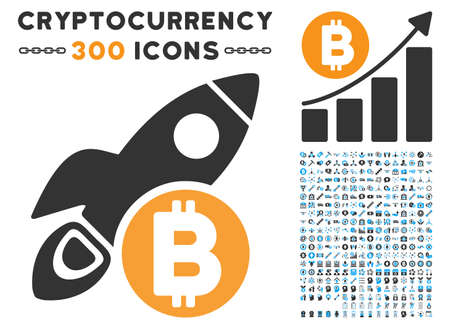 Bitcoin Rocket icon with 300 blockchain, bitcoin, ethereum, smart contract design elements. Vector clip art style is flat iconic symbols.