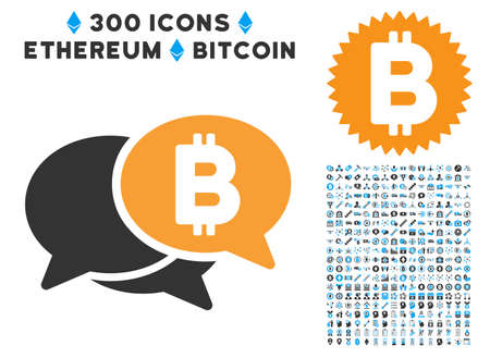 Bitcoin Webinar icon with 300 blockchain, cryptocurrency, ethereum, smart contract pictograms. Vector clip art style is flat iconic symbols.