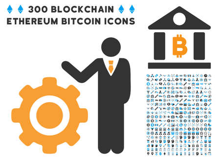 install: Engineer And Gear icon with 300 blockchain, bitcoin, ethereum, smart contract pictograms. Vector icon set style is flat iconic symbols. Illustration