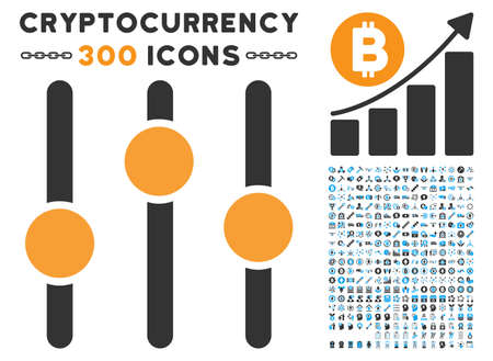 Equalizer icon with 300 blockchain, bitcoin, ethereum, smart contract graphic icons. Vector icon set style is flat iconic symbols. Illustration