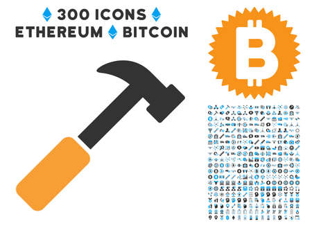 Hammer pictograph with 300 blockchain, cryptocurrency, ethereum, smart contract images. Clip art style is flat iconic symbols. Illustration