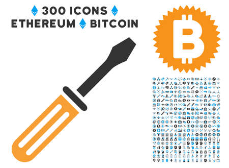 install: Screwdriver pictograph with 300 blockchain, bitcoin, ethereum, smart contract images. Vector icon set style is flat iconic symbols.