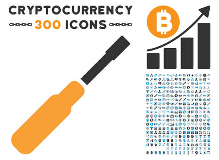 Screwdriver pictograph with 300 blockchain, cryptocurrency, ethereum, smart contract graphic icons. Vector illustration style is flat iconic symbols.