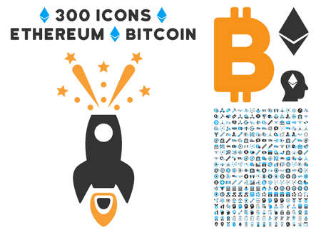 Space Rocket Boom pictograph with 300 blockchain, cryptocurrency, ethereum, smart contract graphic icons. Vector clip art style is flat iconic symbols.
