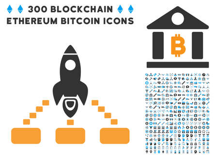 Space Rocket Collaboration pictograph with 300 blockchain, bitcoin, ethereum, smart contract symbols. Vector clip art style is flat iconic symbols.