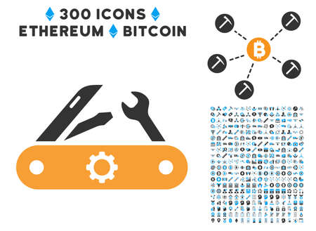 Swiss Knife pictograph with 300 blockchain, cryptocurrency, ethereum, smart contract design elements. Vector icon set style is flat iconic symbols. Illustration