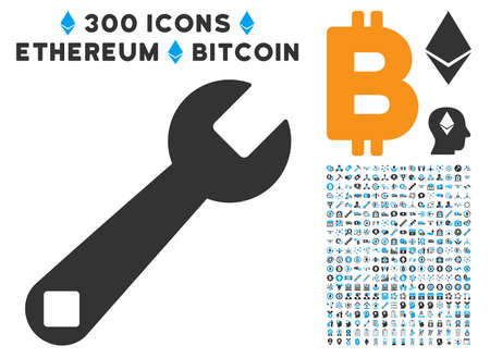 install: Wrench Tool icon with 300 blockchain, bitcoin, ethereum, smart contract design elements. Vector clip art style is flat iconic symbols. Illustration