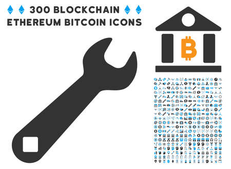 install: Wrench pictograph with 300 blockchain, bitcoin, ethereum, smart contract symbols. Vector icon set style is flat iconic symbols.