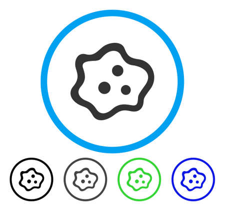 Amoeba rounded icon. Vector illustration style is a flat iconic symbol inside a circle, black, grey, blue, green versions. Designed for web and software interfaces.