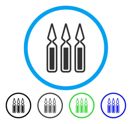 Ampoules rounded icon. Vector illustration style is a flat iconic symbol inside a circle, black, gray, blue, green versions. Designed for web and software interfaces.