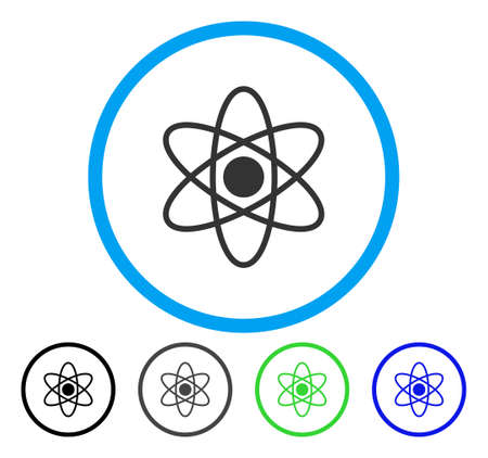Atom rounded icon. Vector illustration style is a flat iconic symbol inside a circle, black, gray, blue, green versions. Designed for web and software interfaces. Vector Illustration