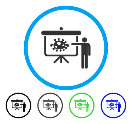 ameba: Bacteria Lecture rounded icon. Vector illustration style is a flat iconic symbol inside a circle, black, grey, blue, green versions. Designed for web and software interfaces.