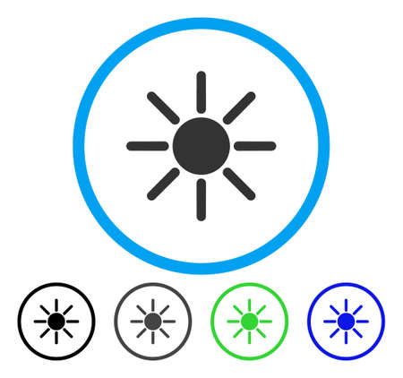 Brightness rounded icon. Vector illustration style is a flat iconic symbol inside a circle, black, gray, blue, green versions. Designed for web and software interfaces.