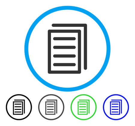 Copy Document rounded icon. Vector illustration style is a flat iconic symbol inside a circle, black, grey, blue, green versions. Designed for web and software interfaces.