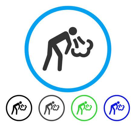 Hoest afgerond pictogram. Vector illustratie stijl is een plat iconisch symbool in een cirkel, zwart, grijs, blauw, groen versies. Ontworpen voor web- en software-interfaces. Stock Illustratie