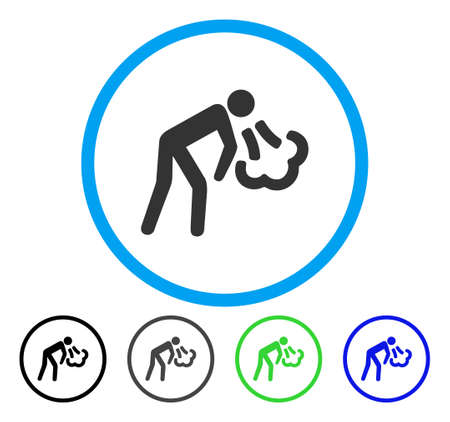 Cough rounded icon. Vector illustration style is a flat iconic symbol inside a circle, black, gray, blue, green versions. Designed for web and software interfaces.