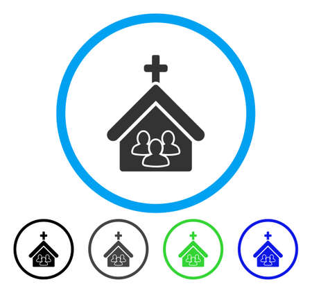 Church People rounded icon. Vector illustration style is a flat iconic symbol inside a circle, black, gray, blue, green versions. Designed for web and software interfaces. Çizim