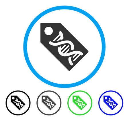decode: DNA Marker rounded icon. Vector illustration style is a flat iconic symbol inside a circle, black, gray, blue, green versions. Designed for web and software interfaces. Illustration