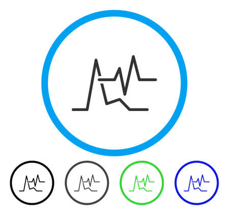 ECG rounded icon. Vector illustration style is a flat iconic symbol inside a circle, black, gray, blue, green versions. Designed for web and software interfaces.
