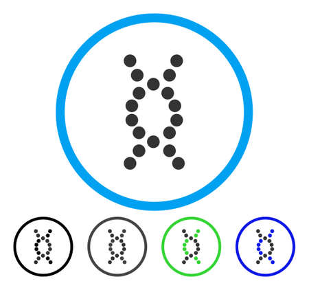 DNA Spiral rounded icon. Vector illustration style is a flat iconic symbol inside a circle, black, gray, blue, green versions. Designed for web and software interfaces.
