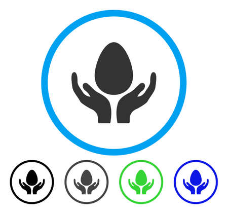 Egg Incubator Hands rounded icon. Vector illustration style is a flat iconic symbol inside a circle, black, gray, blue, green versions. Designed for web and software interfaces.