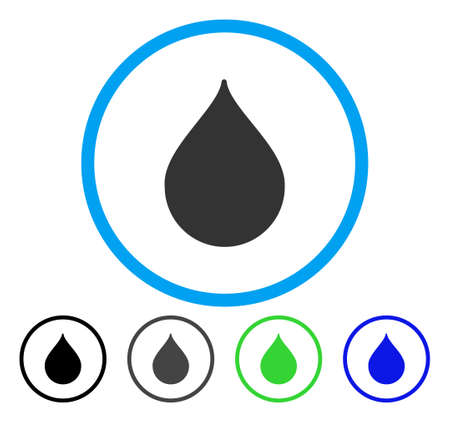 Drop rounded icon. Vector illustration style is a flat iconic symbol inside a circle, black, gray, blue, green versions. Designed for web and software interfaces. Иллюстрация