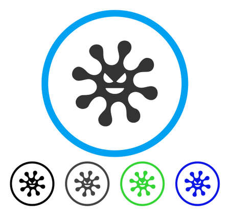 infected: Evil Bacteria rounded icon. Vector illustration style is a flat iconic symbol inside a circle, black, gray, blue, green versions. Designed for web and software interfaces.