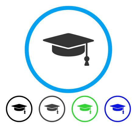 Abschlusskappe gerundet Symbol. Vector Illustration Stil ist ein flaches Symbol Symbol innerhalb eines Kreises, schwarz, grau, blau, grün Versionen. Entwickelt für Web- und Software-Schnittstellen.