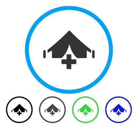 Field Hospital rounded icon. Vector illustration style is a flat iconic symbol inside a circle, black, gray, blue, green versions. Designed for web and software interfaces. Çizim