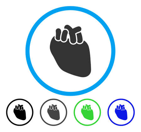 Heart Organ rounded icon. Vector illustration style is a flat iconic symbol inside a circle, black, gray, blue, green versions. Designed for web and software interfaces.