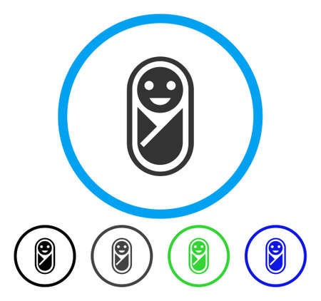 Infant rounded icon. Vector illustration style is a flat iconic symbol inside a circle, black, gray, blue, green versions. Designed for web and software interfaces.