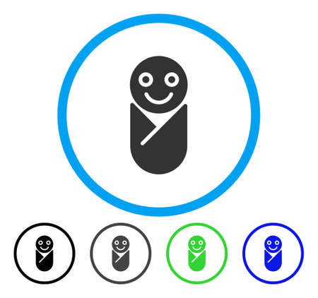 Infant rounded icon. Vector illustration style is a flat iconic symbol inside a circle, black, grey, blue, green versions. Designed for web and software interfaces.