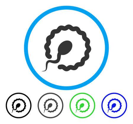 Insemination abgerundetes Symbol. Vektorillustrationsart ist ein flaches ikonenhaftes Symbol innerhalb eines Kreises, schwarze, graue, blaue, grüne Versionen. Entwickelt für Web- und Software-Schnittstellen.