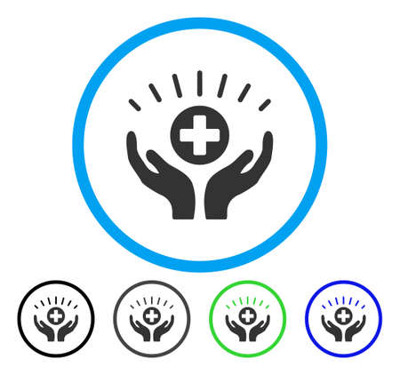 addition: Medical Prosperity rounded icon. Vector illustration style is a flat iconic symbol inside a circle, black, gray, blue, green versions. Designed for web and software interfaces.