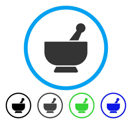 Mortar rounded icon. Vector illustration style is a flat iconic symbol inside a circle, black, gray, blue, green versions. Designed for web and software interfaces.