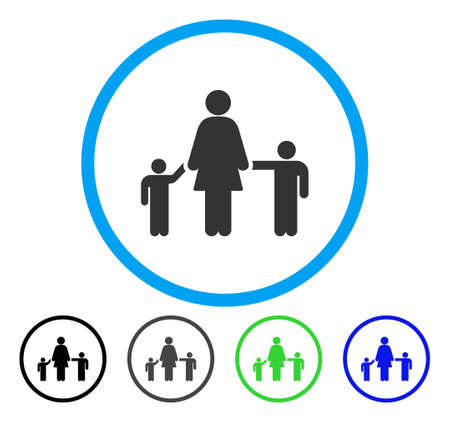 Mother And Children rounded icon. Vector illustration style is a flat iconic symbol inside a circle, black, grey, blue, green versions. Designed for web and software interfaces.