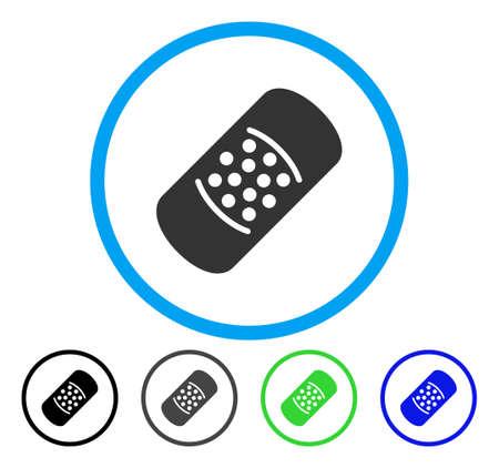 Patch afgerond pictogram. Vector illustratie stijl is een plat iconisch symbool in een cirkel, zwart, grijs, blauw, groen versies. Ontworpen voor web- en software-interfaces.