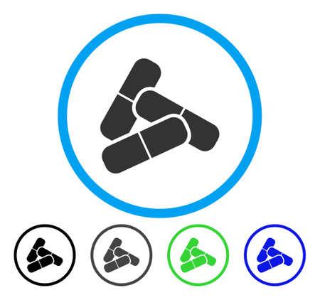 Pillen afgerond pictogram. Vector illustratie stijl is een plat iconisch symbool in een cirkel, zwart, grijs, blauw, groen versies. Ontworpen voor web- en software-interfaces.