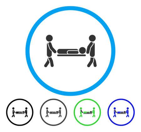 Patiëntbrancard afgerond pictogram. Vector illustratie stijl is een plat iconisch symbool in een cirkel, zwart, grijs, blauw, groen versies. Ontworpen voor web- en software-interfaces. Vector Illustratie