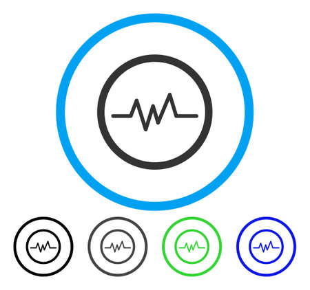 Pulse Monitoring rounded icon. Vector illustration style is a flat iconic symbol inside a circle, black, grey, blue, green versions. Designed for web and software interfaces. Illustration