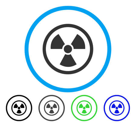 uranium: Radiation Danger rounded icon. Vector illustration style is a flat iconic symbol inside a circle, black, grey, blue, green versions. Designed for web and software interfaces. Illustration