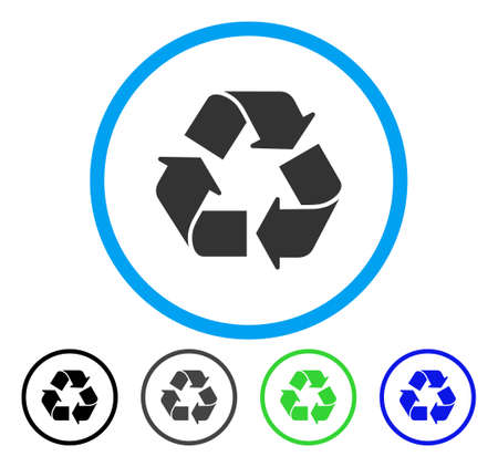 Recycle rounded icon. Vector illustration style is a flat iconic symbol inside a circle, black, gray, blue, green versions. Designed for web and software interfaces.