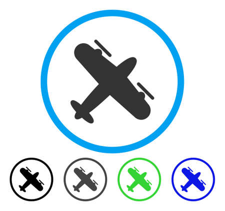 Screw Aeroplane rounded icon. Vector illustration style is a flat iconic symbol inside a circle, black, grey, blue, green versions. Designed for web and software interfaces. Illustration