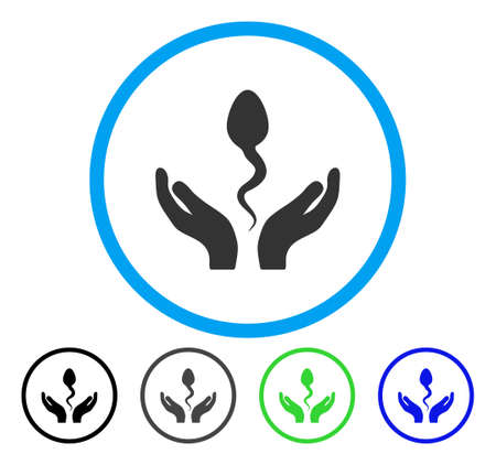 Sperm Care Hands rounded icon. Vector illustration style is a flat iconic symbol inside a circle, black, grey, blue, green versions. Designed for web and software interfaces.