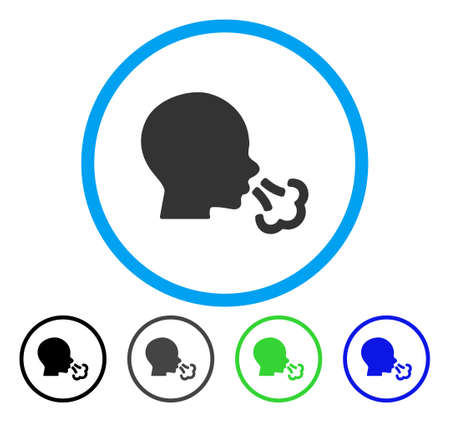 Sneezing rounded icon. Vector illustration style is a flat iconic symbol inside a circle, black, grey, blue, green versions. Designed for web and software interfaces.